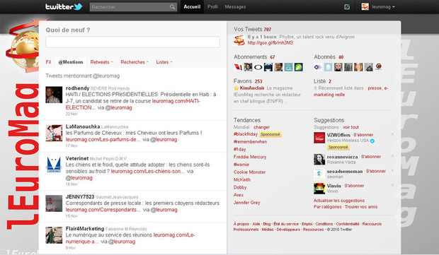 Twitter interface of lEuromag magazine